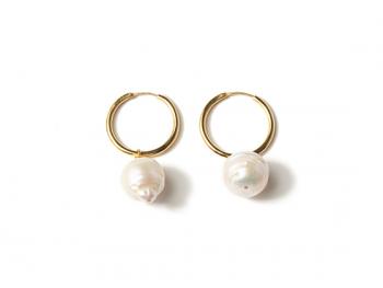 Pendientes b hoop pearls