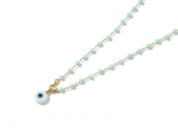 Collar B Rosary & Eye baby blue