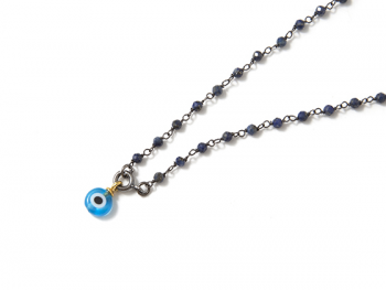 Collar B Rosary & Eye carbon blue