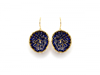 Pendientes maxi B Bubble Gold & Blue